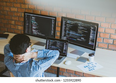 Relaxing, programer having problem project developer programming and coding technology. Website design Safety of the social world Cyberspace concept