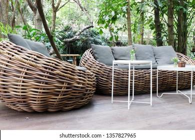 Relaxing Rattan Sofa In the garden.