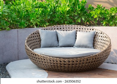 Relaxing Rattan Sofa In The Garden