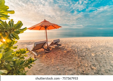 Relaxing and romantic sunset beach scene for background and summer vacation and holiday concept