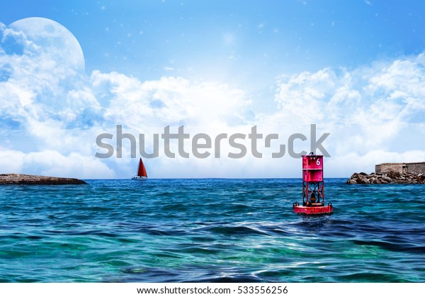Relaxing Sea water and sky with Floating Red Buoy with solo sealing boat and land