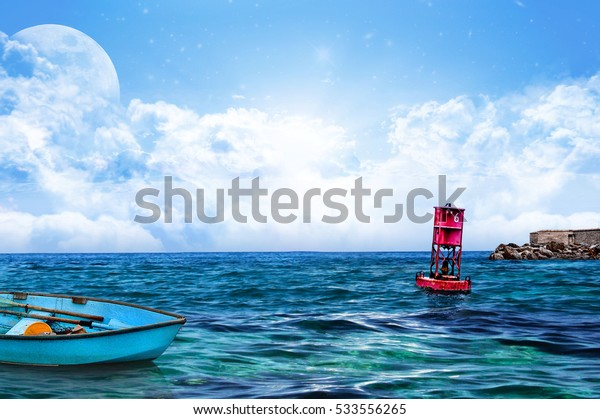 Relaxing Sea water and sky with Floating Red Buoy and boat