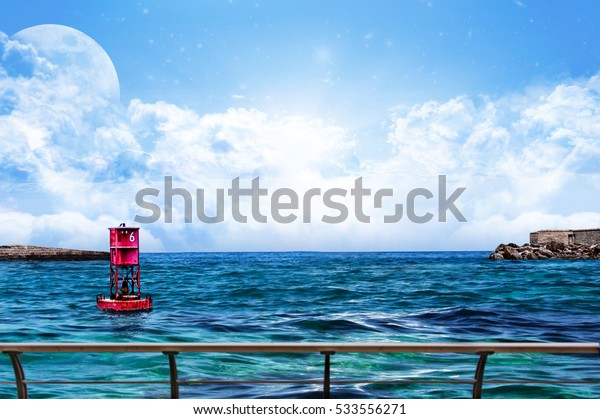 Relaxing Sea water and sky with Floating Red Buoy looking from a boat