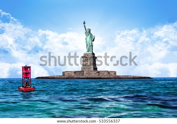 Relaxing Sea water and sky with Floating Red Buoy with Statue of liberty - New Yourk