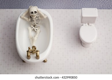 Relaxing skeleton in bathroom