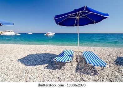 relaxing time in Afandou beach on Rhodes island in Greece