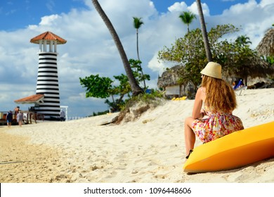 Relaxing tourist on the Dominicus beach on Dominican Republic. Coast of the Del Este national park close the capital city Santo Domingo