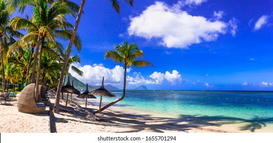 Relaxing tropical holidays. best beaches of Mauritus island