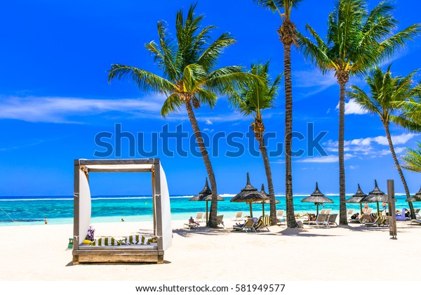 Relaxing tropical holidays. white sandy beach in Mauritius island