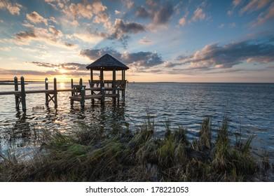 Relaxing Waterfront Coastal Gazebo at Sunset in Outer Banks North Carolina