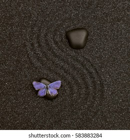 Relaxing wave lines in the black zen sand with a vivid blue butterfly