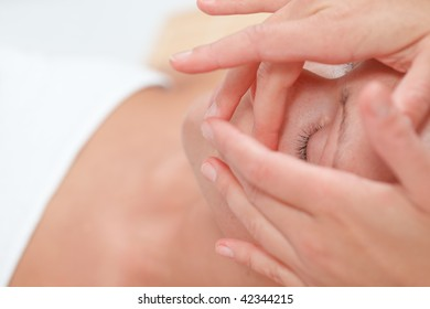 Relaxing woman enjoying wellbeing wellness spa therapy