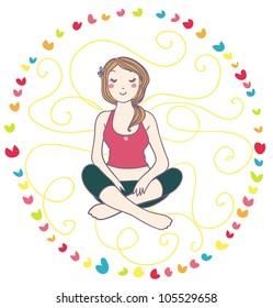 relaxing yoga woman logo illustration