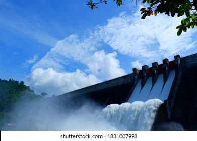 Releasing water of dam in raining season