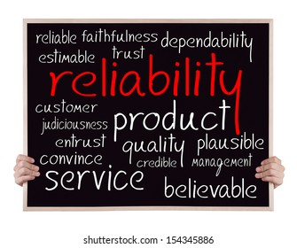 reliability and other related words handwritten on blackboard with hands