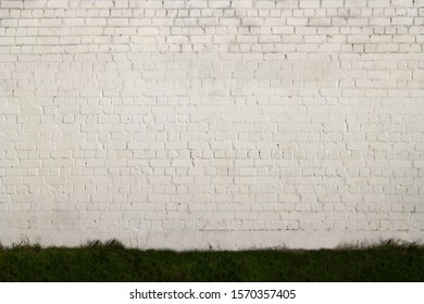 Reliable Brick Wall. Strong Brickwork. Protective Structure. Old Bright, White Brickwall Texture.