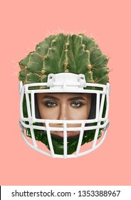 A reliable protection and safety. Female head in sport helmet as a green cactus. Beauty, feminism, protection of women's rights and american football theme. Modern art collage. Pop design.