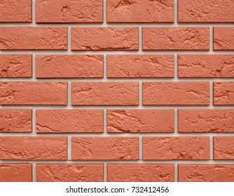 Reliable Red Brick Wall. Strong Brickwork. The Work Of Masons. Protective Structure. Old Bright, Red And Orange Brickwall Texture. Strong Brickwork Seamless.