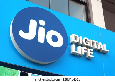 Reliance Jio Infocomm Limited, Jio, is an Indian mobile network operator. Logo on the street. India, Alleppey,  January 17, 2019.