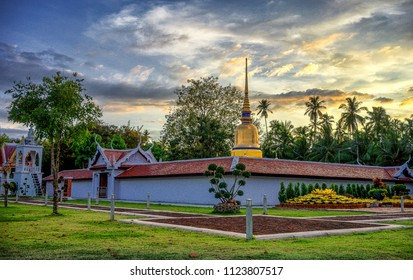 Relics of Buddah Wat phra that sawi temple Bells upside down Pagoda The old building Ritual place On a religious day People are celebrating the ceremony here.. in Chumphon Thailand in evening time