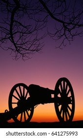 Relics from the civil war create a silhouette in the sunset