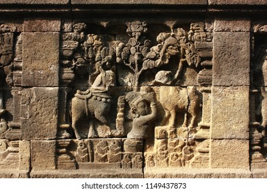 Relief carving in Borobudur temple, Magelang, Indonesia.