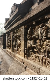 The relief carving on the Borbobudur Temple's balustrade.