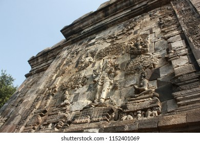 The relief carving of the west wall of Mendut Temple, Magelang, Indonesia.