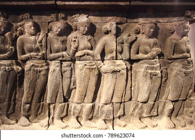 Relief depicting a scene from the Buddha's life birth of prince Siddhartha ,ancient sculpture.
