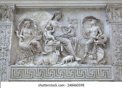 Relief of female Goddess with Twins on the Ara Pacis (Altar of Augustan Peace) in Rome, Italy