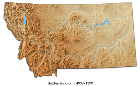 Relief map - Montana (United States) - 3D-Rendering