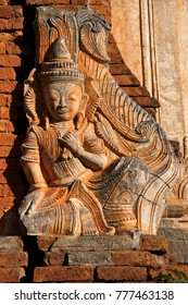 Relief on exterior of ruined pagoda, In Dein, Inle Lake, Myanmar (Burma)