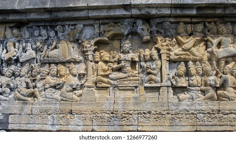 Relief on the Facade of the Temple of Borobudur, the Largest Buddhist Temple in the World