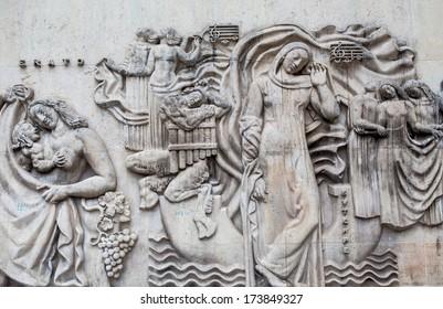 relief on the Trocadero square in Paris