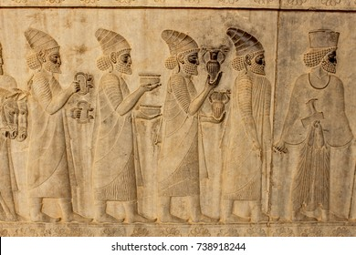 Relief on a wall of the ancient city of Persepolis