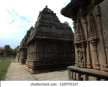 Relief on the wall of Panchalingeshwara Temple, Govindanahalli, Mandya district, Karnataka state, India. It was constructed around 1238 AD during the reign of the Hoysala empire King Vira Someshwara.