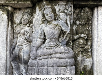 Relief panel of Prambanan Temple, Central Java in Indonesia Asia