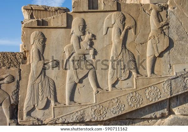 Relief Persepolis Ancient Capital Persian Empire The Arts Stock Image 590711162