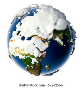 Relief planet Earth is covered with snow drifts - the concept of the winter season, snowy weather, Christmas holidays and New Year