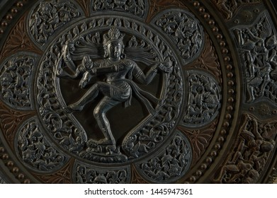 Relief is a sculpture technique, statue of relief work isolated on black background New Delhi India 19-11-2018
