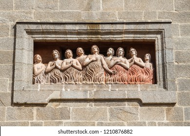 Relief of the souls of purgatory. Facade of the Chapel of Las Animas. Santiago de Compostela, Galicia.