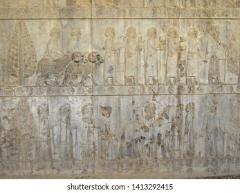 Reliefs from Apadana palace in Persepolis, ex-capital of Ancient Persia, near Shiraz, Persia. Bas-relief is depicting royal servants & nobles, bringing gifts to royal court