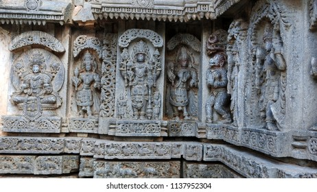 Reliefs of Hindu deities at Lakshmi Narasimha Temple, Nuggehalli, Hassan District of Karnataka state, India. The temple was built in 1246 CE rule of Hoysala Empire.