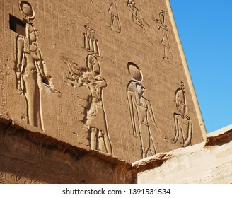 Reliefs on the walls of the Temple of Edfu, Nubia, Egypt