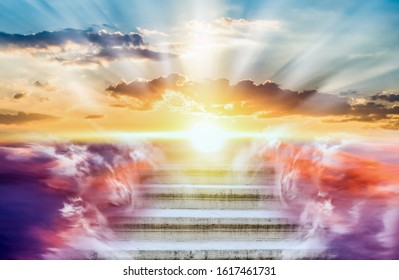 Religion background . Heavens gate . Stairway to the sky . Way to success - Shutterstock ID 1617461731