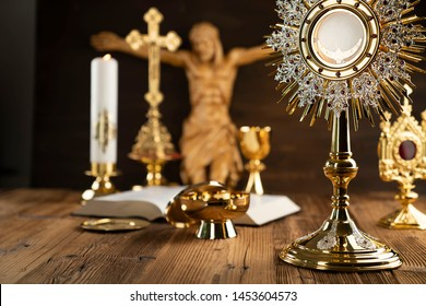 Religion, Christianity, Catholic concept. Wooden table and background.