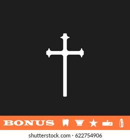 Religion cross icon flat. Simple white pictogram on black background. Illustration symbol and bonus icons tooth, vase, star, mirror, bottle
