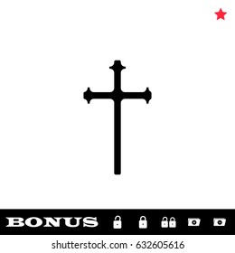 Religion cross icon flat. Simple black pictogram on white background. Illustration symbol and bonus icons open and closed lock, folder, star