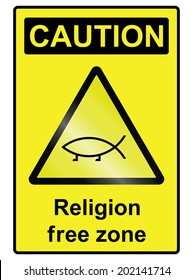 Religion free zone sign isolated on white background