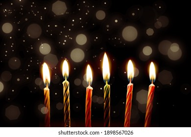 Religion jewish holiday Hanukkah background with menorah (traditional candelabra) and candles